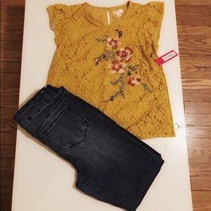 Lace floral shirt
